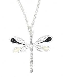 Black & White Enamel Wings Dragonfly Necklace